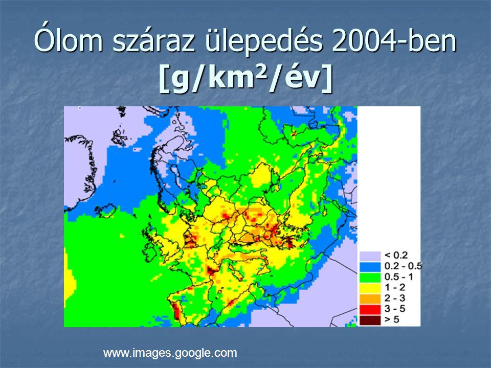Ólom száraz ülepedés 2004-ben [g/km2/év]